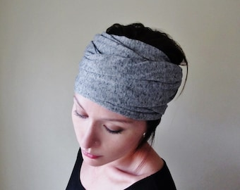 YOGA Head Scarf  - Black and White Hair Wrap - Salt and Pepper Jersey Headband - Extra Wide Head Scarf - Womens Boho Hair Accessories