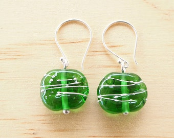"Peroni ""green"" recycled glass earrings with fine silver wire. Recycled Glass Beads made from a Peroni Beer Bottle"