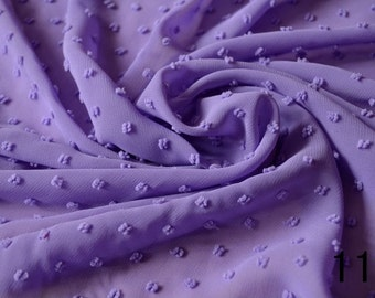 "57""width purple blue black white pink little dot chiffon fabric by yard dress"