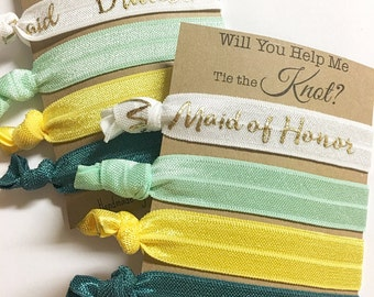 Will You Help Me Tie The Knot, Will You Be My Bridesmaid, Summer Wedding, Bridesmaid Hair Ties, Bridesmaid Favor, Bridesmaid Gift, Proposal