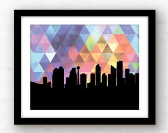 Calgary, Alberta art | Calgary print | skyline prints | city skyline watercolor | watercolor home decor | geometric wall art