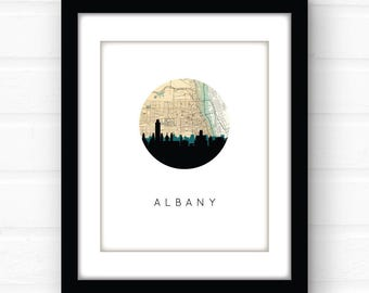 Albany, NY art | Albany New York map art | Albany skyline print | New York art | upstate New York decor | New York city map print