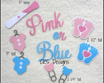 Die Cut Baby Gender Reveal Scrapbook Page Embellishments for Card Making Scrapbook or Paper Crafts
