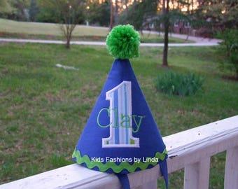Royal Blue/ Stripes Birthday Ric Rac Hat