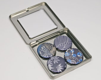 Blue and White Japanese Paper Magnet Set