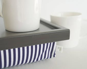 Bed Serving Lap Tray with striped pillow, Laptop Lap Desk, stand- graphite grey tray with navy and white striped pillow