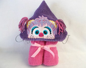 "Abby Cadabby of Sesame Street Inspired Pink Monster Hooded Bath Towel!  10"" Purple Hood. READY TO SHIP. Can be personalized. Adult or child."