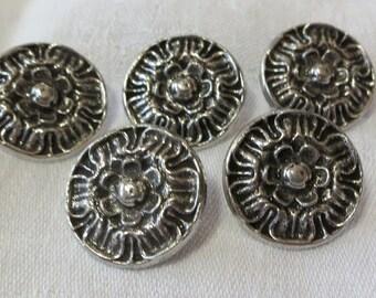 "5 Vintage, solid metal buttons, 0.75"" ins, cast metal, abstract flower design, metal shank back, soldered on. Pewter color. UNK16.3-28.5."