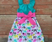 Girls Spring Dress Elephant Flutter Sleeve Sash 3 6 12 18 24 2t 3t 4t 5 6 7 8 9 10 Elephant Print Birthday Girls Birthday Dress Mothers Day