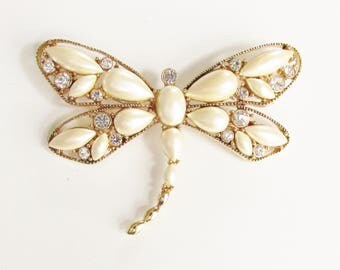 Large Vintage Rhinestone Pearl Dragonfly Brooch signed Monet 1970s