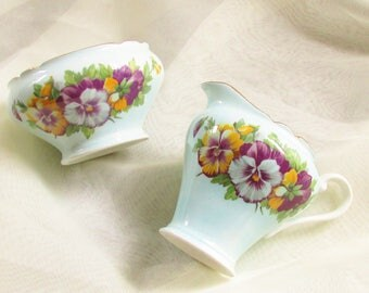 Blue China Cream Sugar Bowl Purple Pansy Aynsely England Cottage Chic