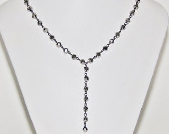 Silver Necklace, Handmade Necklace, Womens Necklace, Link Necklace, Beaded Necklace, Y Necklace, Glass Necklace