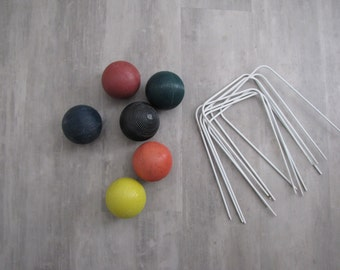 Vintage Croquet Balls and Stakes