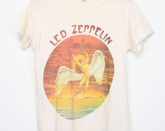 Led Zeppelin Shirt Vintage tshirt 1974 Swan Song Icarus 1970s Atlantic Records Robert Plant Jimmy Page Peter Grant Rare tee Rock Band 70s