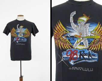 Vintage 98 Rock Honolulu T-shirt Radio Hawaii Black Robot 80s Hanes Made in USA - Medium