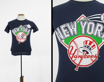 Vintage 80s Yankees T-shirt Navy Blue MLB Crewneck Made in USA - XS / Small