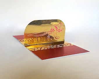 DINOSAURES Pop Up BIRTHDaY INVITATION Opens Flat Handmade Cut by Hand Origamic Architecture in Metallic Red and Metallic Gold One Of A Kind