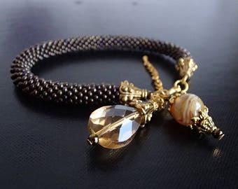 Beaded Bracelet, Rope Bracelet, Crochet Bracelet, Unique Bracelet, Beadwork Bracelet