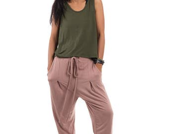 Brown pants, loose fit pants, soft brown trousers, yoga pants, nude harem pants : Urban Chic Collection no.15