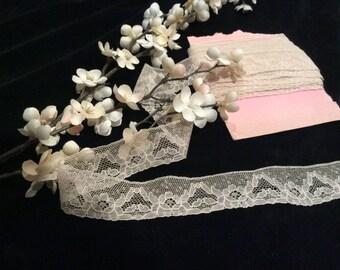 Vintage Ivory Cotton Lingerie Lace, Vintage Sewing Supplies, Country Lace, Wedding Lace, Bridal Lace