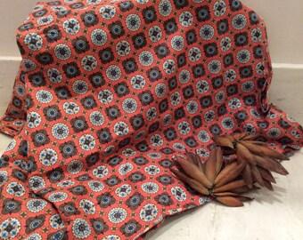 Vintage Orange  Folk Art Design Cotton Fabric, Vintage Fabric, Vintage Sewing Supplies, Quilting Supplies, Cotton Quilting Fabric