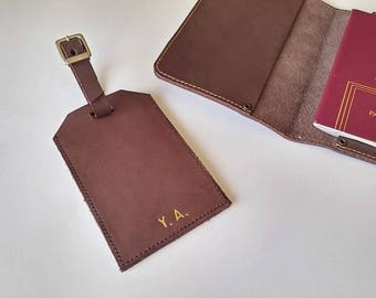 Leather luggage tags personalized
