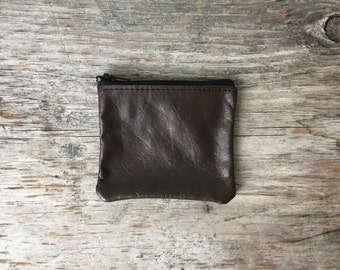 Leather Coin Pouch - Repurposed Leather with Zipper