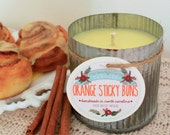 Orange Sticky Buns Soy Wax Candle in 12 oz. Zinc Tin - Candle for Home, Gift, Housewarming, Hostess, Birthday, Present, Holidays