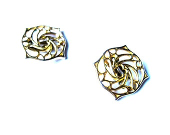 Earrings Statement Gold Cutout Clip On