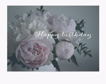 Postcard • Happy Birthday • Pivoines • Peonies