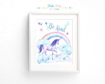 Unicorn Be Kind Print 8x10 ~ Printable Download