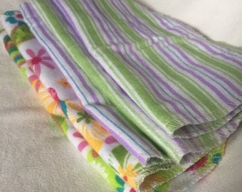5 Flannel Baby Wipes/Washcloths