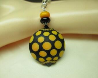 Black and Yellow Polka Dot Lampwork Bead Pendant Necklace