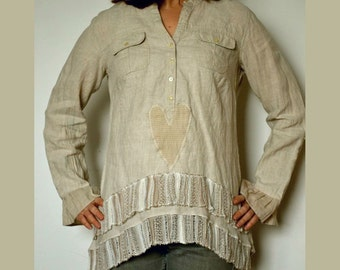 Linen tunic long sleeves, women's shirt tunic linen, boho linen tunic, upcycled clothing, recycled linen tunic, eco shirt,linen tunic size M
