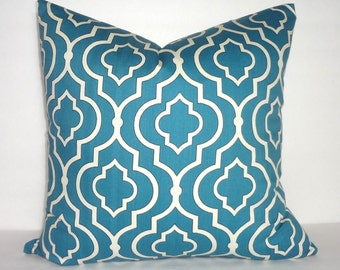 Beautiful Teal Blue & Ivory Geometric Pillow Cover Decorative Throw Pillow Cover 18x18