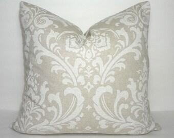 Damask Cloud Tan & Natural Damask Pillow Cover Decorative Natural Tan Pillow Cover Choose Size