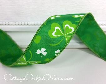 "St. Patrick's Wired Ribbon, 1 1/2"", Shamrocks Emerald Green Satin - THREE YARDS -  Offray ""Cronin""  Craft Wire Edged Ribbon"