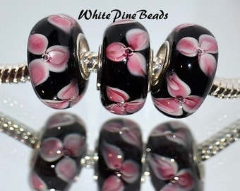 Pink and Black Petals Murano Glass Bead Fits European Style Charm Bracelets