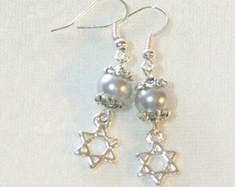 Star of David Earrings - Silver Glass Pearl