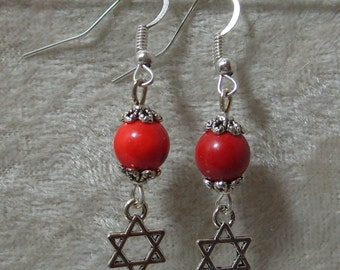Star of David Earrings - Red Coral