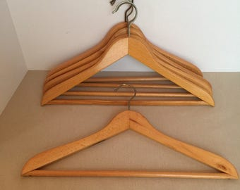 "Vintage Wooden Suit Hangers Curved Set of 5 Hangers 17"" to 17 5/8"" Wide"