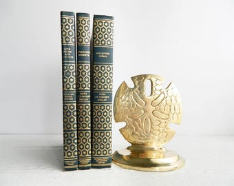 Vintage Brass Sand Dollar Bookend - Nautical Home Decor