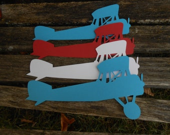 """10"""" Airplanes. CHOOSE YOUR COLORS. Boy's Birthday, Party Decor, Garland. Scrapbooking. Custom Orders Welcome."""