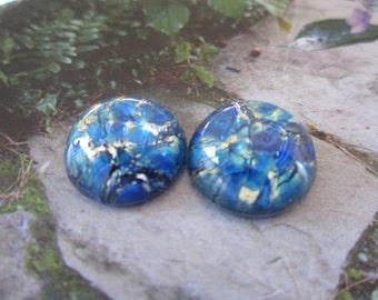Czech Sea Blue Opal Glass Cabs 18mm 2Pc.