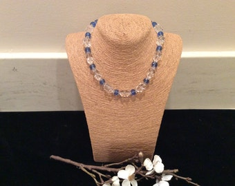 Vintage Blue and Clear Faceted Crystal Czech Necklace Choker, Vintage Jewelry, Choker Necklace