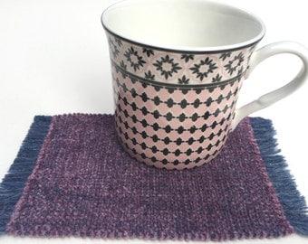 Handwoven Velvety Vegan Mauve Chenille Mug-Rug Mug-Mat Drink Coasters