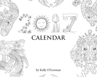 2017 Illustrated Colouring Calendar by Kelly O'Gorman