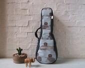 Reserved listing -- soprano ukulele case - Hedgehog -Japanese cotton Ukulele Bag  with removable strap