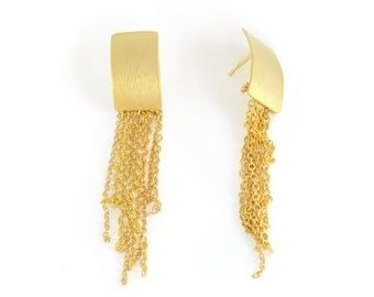 Unique gold earrings, gold tassel earring, gold rectangle earring, tassel earring, long gold earring, modern earring, gold statement earring