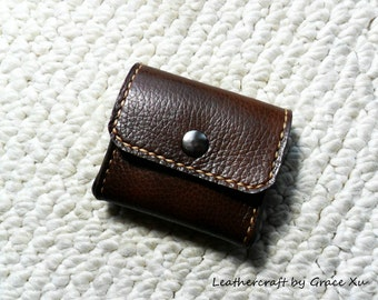 """100% hand stitched walnut brown cowhide leather 4"""" x 6"""", 3""""x 5"""" index cards, 2"""" x 3.5"""", 2.5""""x2.5"""" business cards, credit cards case"""